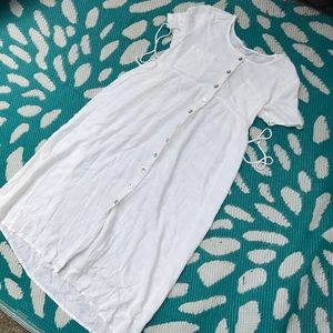 White size small button up dress with full length
